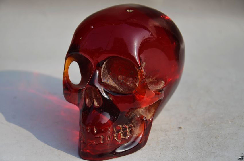 11.5 cm */Collectible Decorate Handwork Old Burmese amber carving skull statue(China (Mainland))
