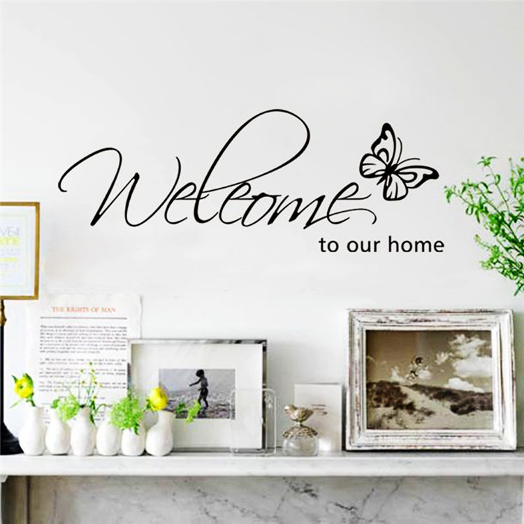 Welcome To Our Home Quote Letter Wall Sticker Home Decoration For Living Room Modern Diy Art Characters Vinyl Accessories Mural(China (Mainland))