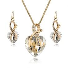 SZELAM 2019 Kristall Herz Halskette Ohrringe Schmuck Set für Frauen Braut Hochzeit Zubehör SET140044(China)