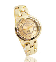 Top Selling Brand Gold Plated Watch Women Ladies Fashion Crystal Dress Quartz Wristwatches For Gift TW054