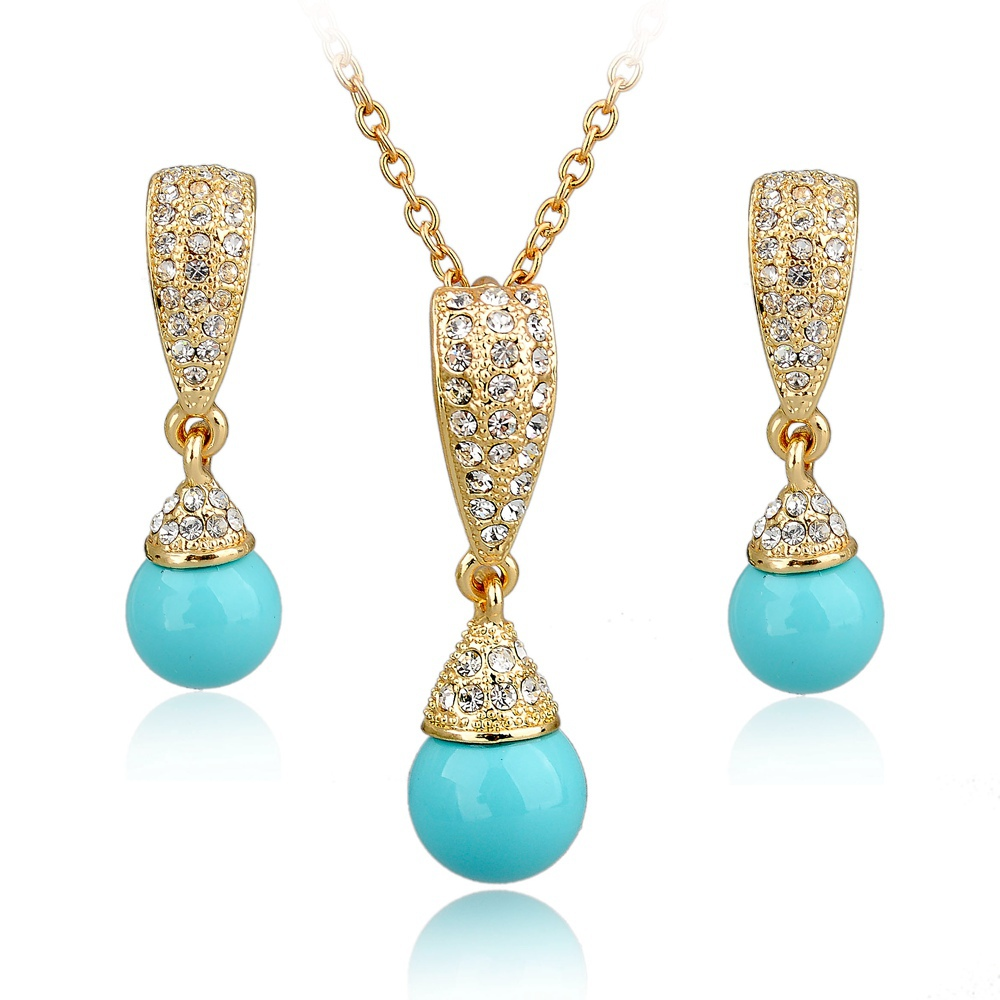 Wedding Jewellery Gift Sets : -gift-wedding-pearl-jewelry-set-for-women-gold-plated-jewellery-set ...