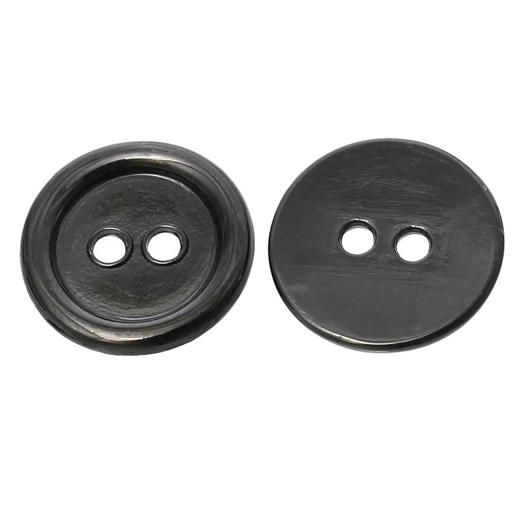"Zinc metal alloy Sewing Button Metal Buttons Round Gunmetal 2 Holes 15.0mm( 5/8"")Dia,2 PCs 2015 new(China (Mainland))"