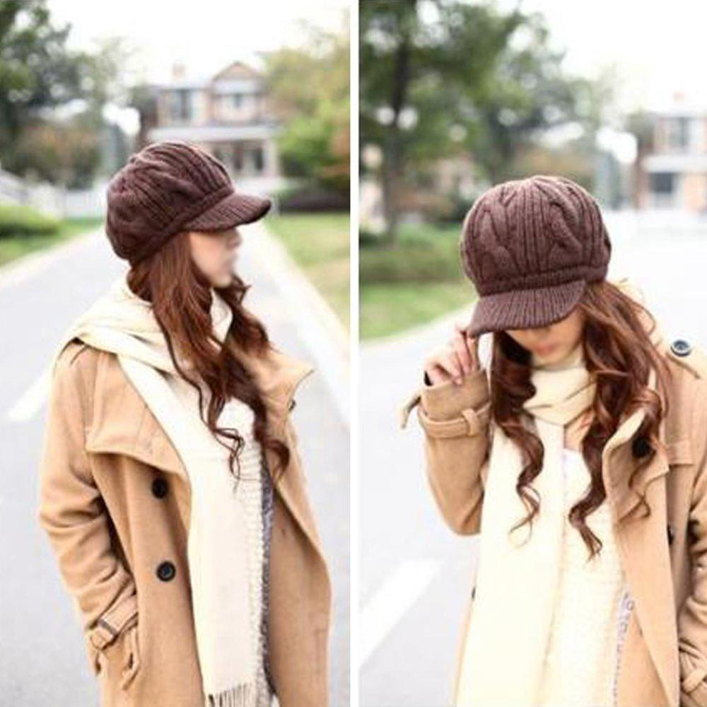 Big Promotion Women Slouchy Cabled Pattern Knit Beanie Crochet Rib Hat Warm - Brown(China (Mainland))