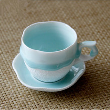 European high grade hand painted coffee cups and saucers suit creative ceramic embossed coffee cup set