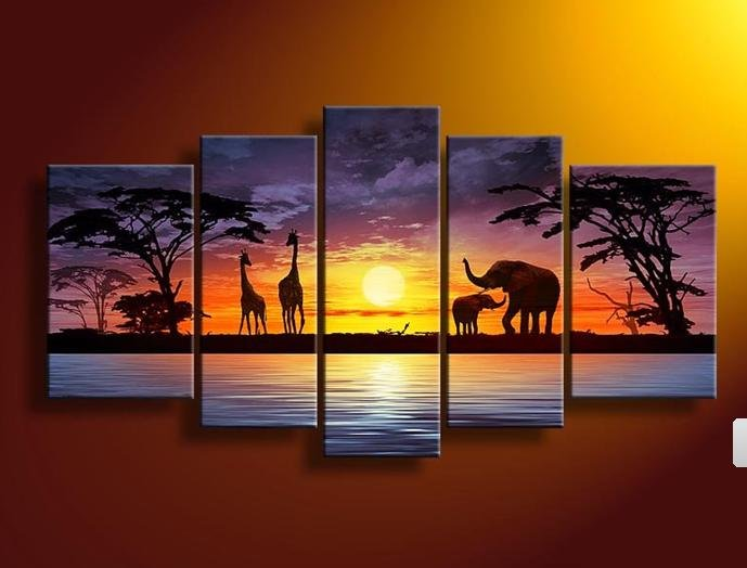 African Landscape,40*60cmx2p,30*80cmx2p,30*90cm,Huge Modern Canvas Oil Painting Wall Art ,Christmas Decoration JYJLV242 - Happy Tom Trading Company Limited store