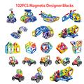Hot 102Pcs Set Magnetic Designer Building Blocks Models Building Toy Plastic DIY Bricks Children Learning Educational