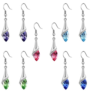 (2 pairs/lot) New 2015 Fashion Cheap Women Quality Elegant Unique18K Gold & Silver Plated Crystal Drop Earrings Allergy Free - Guangzhou Fast Done Co.,Ltd store