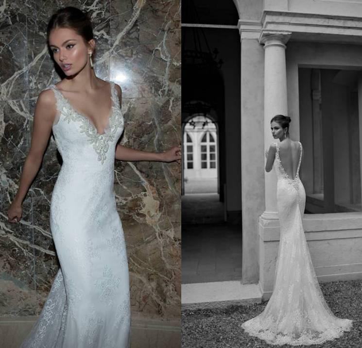 2015 berta bridal spring deep v neck sheath sexy backless for Backless sheath wedding dresses