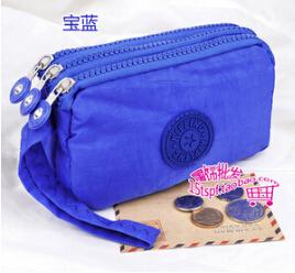 Three zipper canvas women zero wallet key mobile phone bag wrist bag purse large capacity free shipping(China (Mainland))