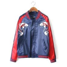 2016 Spring Autumn Japan YOKOSUKA carp Embroidery baseball coat Casual unisex Lovers jacket Vintage Bomber jackets uniform ZJ708