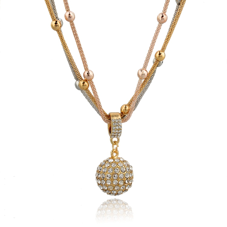 Vintage Austrian Crystal Ball Necklaces Pendants Hot Sale Lovely Fashion Gold Necklace Long Chain Necklace For Women SNE140451(China (Mainland))