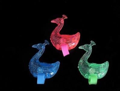500pcs Peacock Led Finger Ring Toy.Size 11*1.4cm.Light Cartoon Glow stick.Lovely led light toy.Led flash toy(China (Mainland))