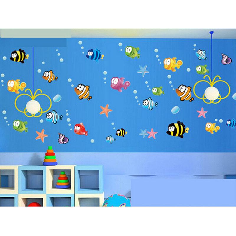 Cute DIY Ocean Sea Fish Vinyl Art Removable Wall Sticker Home Mural Bath Room Decor(China (Mainland))