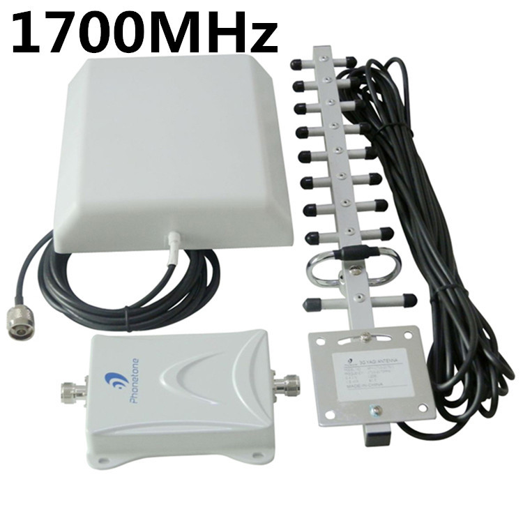 AWS 1700MHz 3G Booster Signal Amplifier 65db Cell Phone Repeater Complete Kit(China (Mainland))