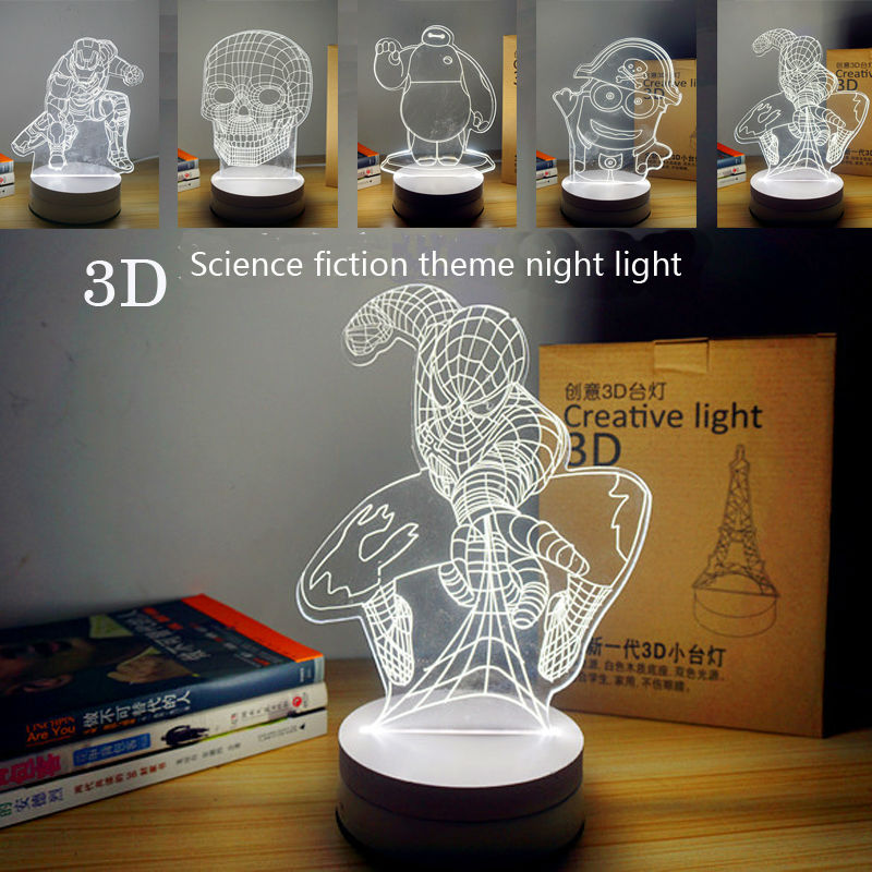 1Piece 3D Wood Science fiction theme hero spider-man Iron man Baymax Skull Minions LED Table Lamp creative lamp(China (Mainland))