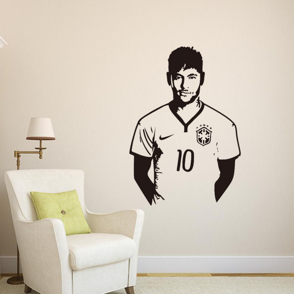 Football celebrity Neymar Boy's bedroom wall stickers living room bedroom kids room background wall decoration stickers(China (Mainland))