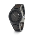 BOBO BIRD Fashion Genuine Cowhide Leather Luxury men Watches Natural Black Bamboo Wood Wristwatch For Idea