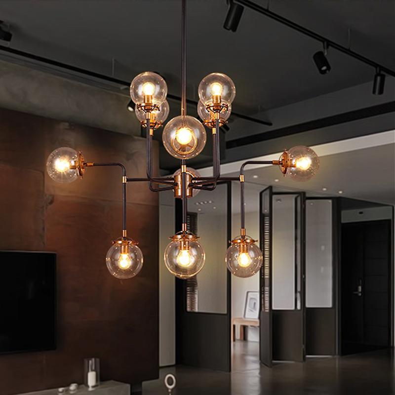 loft industrial Beanstalk creative minimalist Nordic Iron Art glass ball pendant light living room restaurant(China (Mainland))