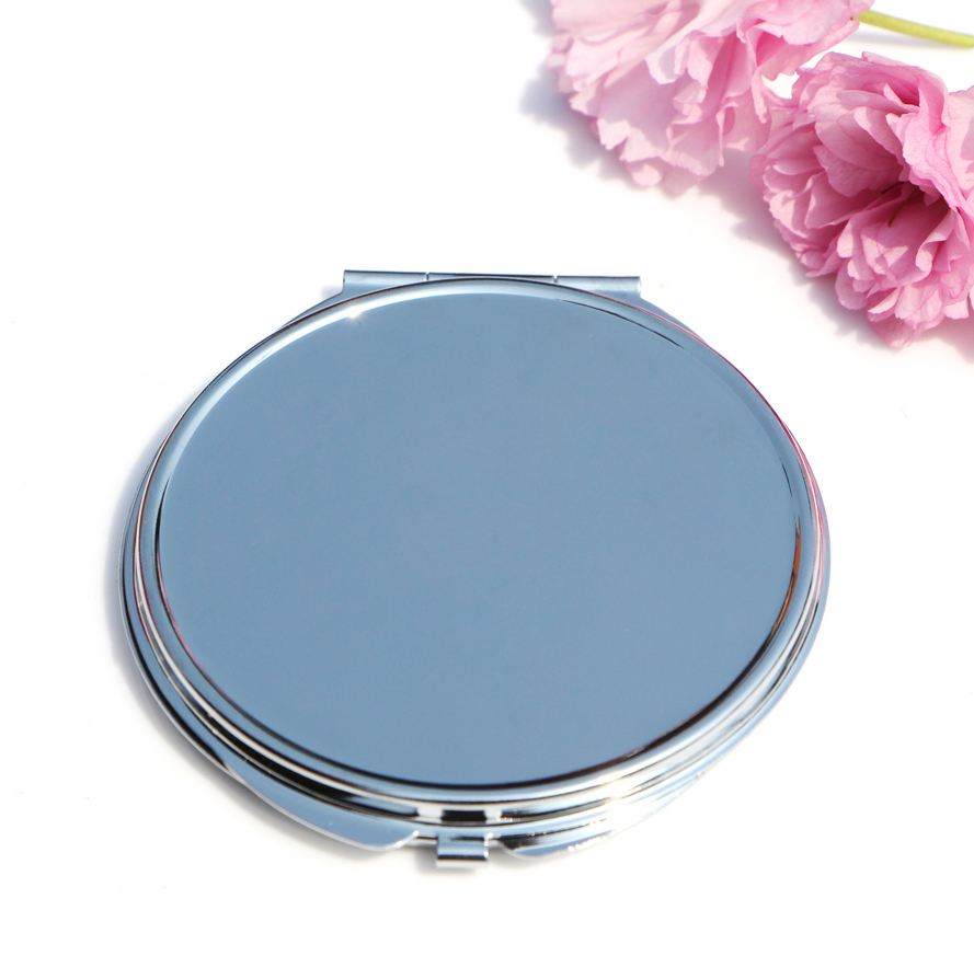 Round 75mm mirror compact blank plain silver colour for for Where to find mirrors