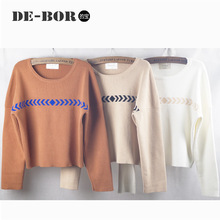 2015 New Korea Loose Design Women Drop Sleeved Sweater Cropped Top Crew Neck Longsleeve Autumn&Winter Short StyleThick Pullove(China (Mainland))