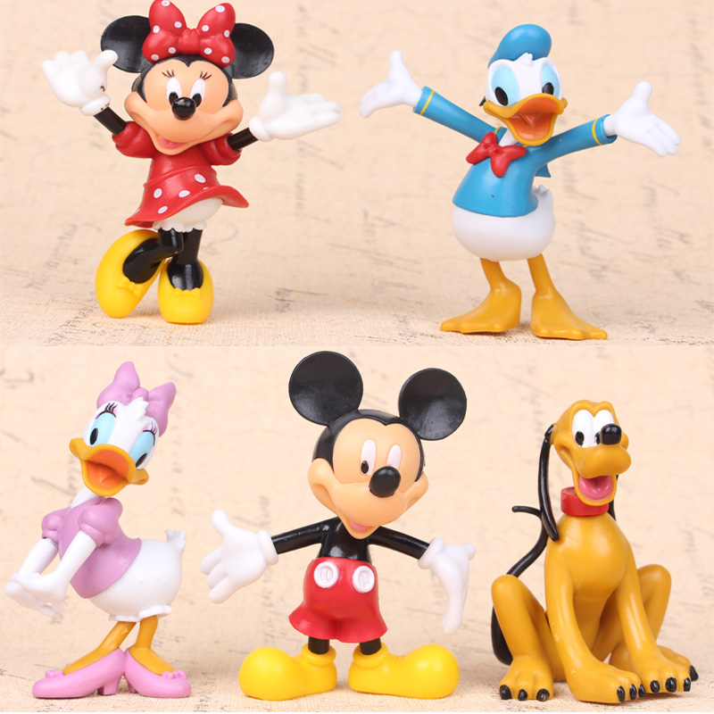 5pcs/set Mickey Mouse Clubhouse Minnie Mouse Donald Duck hand office earners ornaments toys gift(China (Mainland))