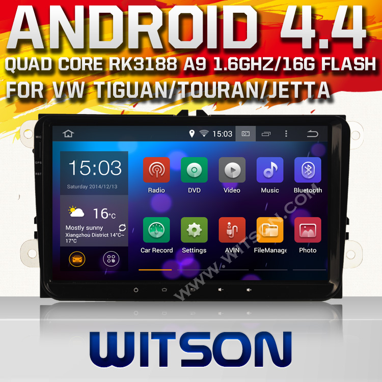 WITSON 9 inch auto radio  for VW TOURAN JETTA  SKODA  SEAT POLO GOLF Android 4.4.4 quad core 16GB flash+1024x600 HD+Mirror Link<br>