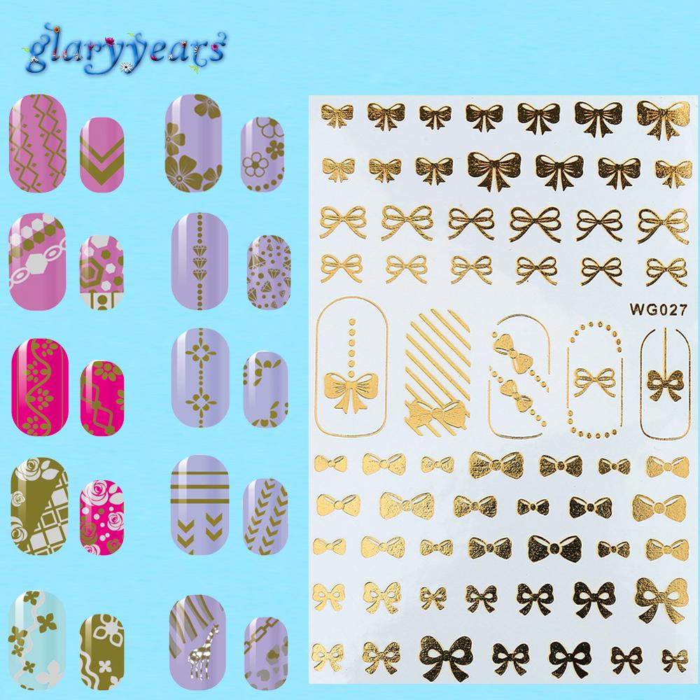 1pc Water Transfer 32 Patter Designs Nail Sticker Romantic Flash Gold Silver Flower Heart Design Nail Art Sticker Decor Decal(China (Mainland))