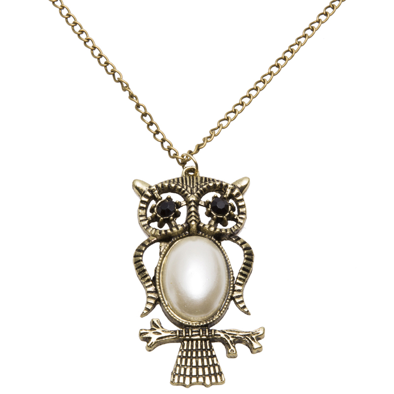 Fashion Unique Women's Or Men's Owl Design Antique Gold Plated Necklace sautoir Pandent Jewelry Gift(China (Mainland))