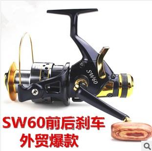 free shipping Sw50 sw60 10 ball bearing carp fishing reel front drag and rear drag baitrunner reel(China (Mainland))