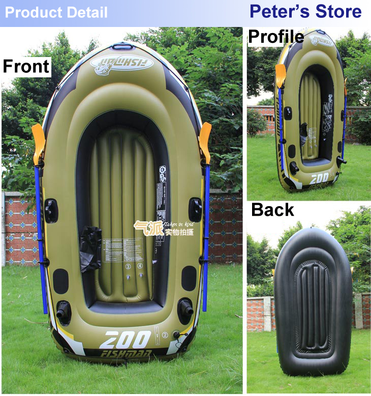 Retail 2 Person fishing boat 218*110*36cm inflatable boat,kayak,repair patch, color box package, weight around 4kg(China (Mainland))
