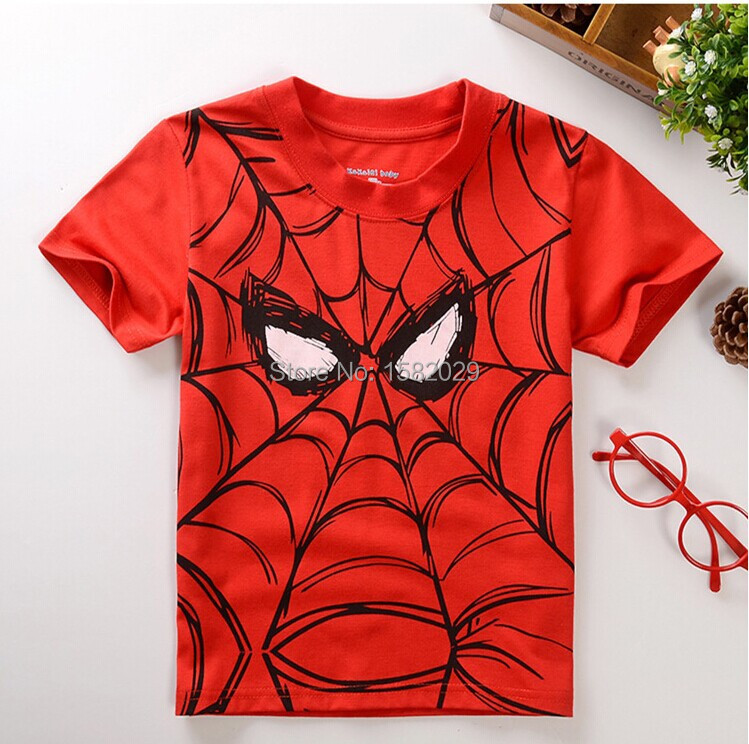 New 2017 children t shirts,Spider-man Print Kids Baby Boy Tops Short Sleeve T-Shirt Summer Tee free shipping(China (Mainland))