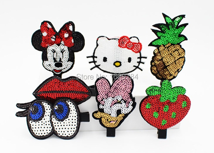 Wholesale Messy Sequin Cute Glitter Micky Mouse KT Cat BB Girls Hairclip Solid Cartoon Girls Hairpin Baby Girls HairAccessories(China (Mainland))