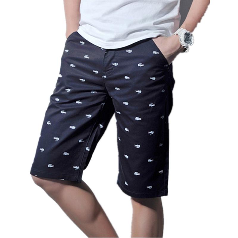 Mens Shorts 2016 Summer Casual 100% Cotton Men's crocodile print Shorts Casual Sport Surf Shorts Men Solid Color Short Pants Men(China (Mainland))