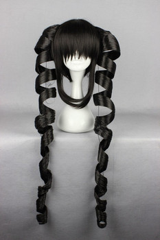Black Long Wavy Curly Twin Braids Cosplay Wig