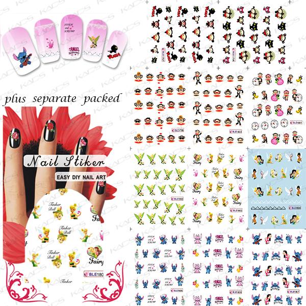 2015NEW 100PCS/LOT BLE1797-1807 Cartoon Nail Art Water Slide Tattoo Sticker:Monkey / Babie / Lilo &amp; Stitch<br><br>Aliexpress