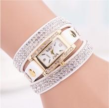 Cristal relojes mujer 2015 estilo europeo reloj nuevo reloj de cadena larga de la joyería vestido de punto ocasionales Long cuero reloj de cuarzo