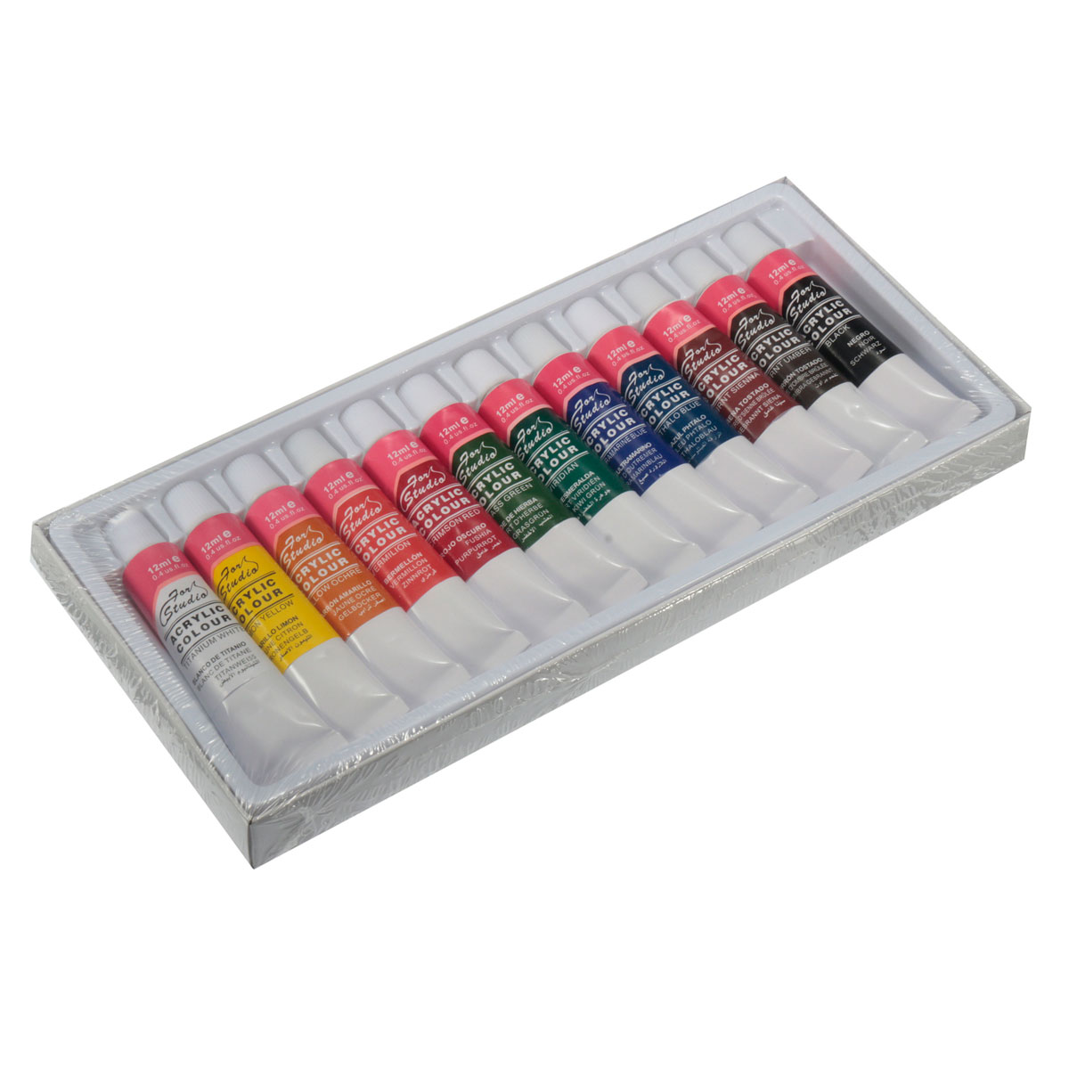 Hot Sale New Arrival 12 Colors One Set 12ml Paint Tubes Draw Painting Acrylic Colour Set Fit For Paintbrush School Supply(China (Mainland))