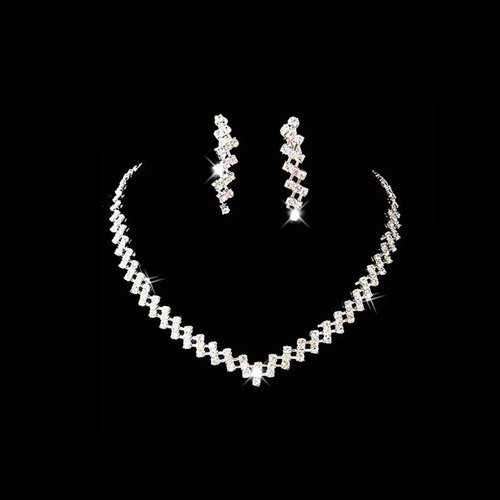Beauty online 2015 New Sexy Wedding Bridal Crystal Rhinestone  concise style Necklace Earrings set xl-061