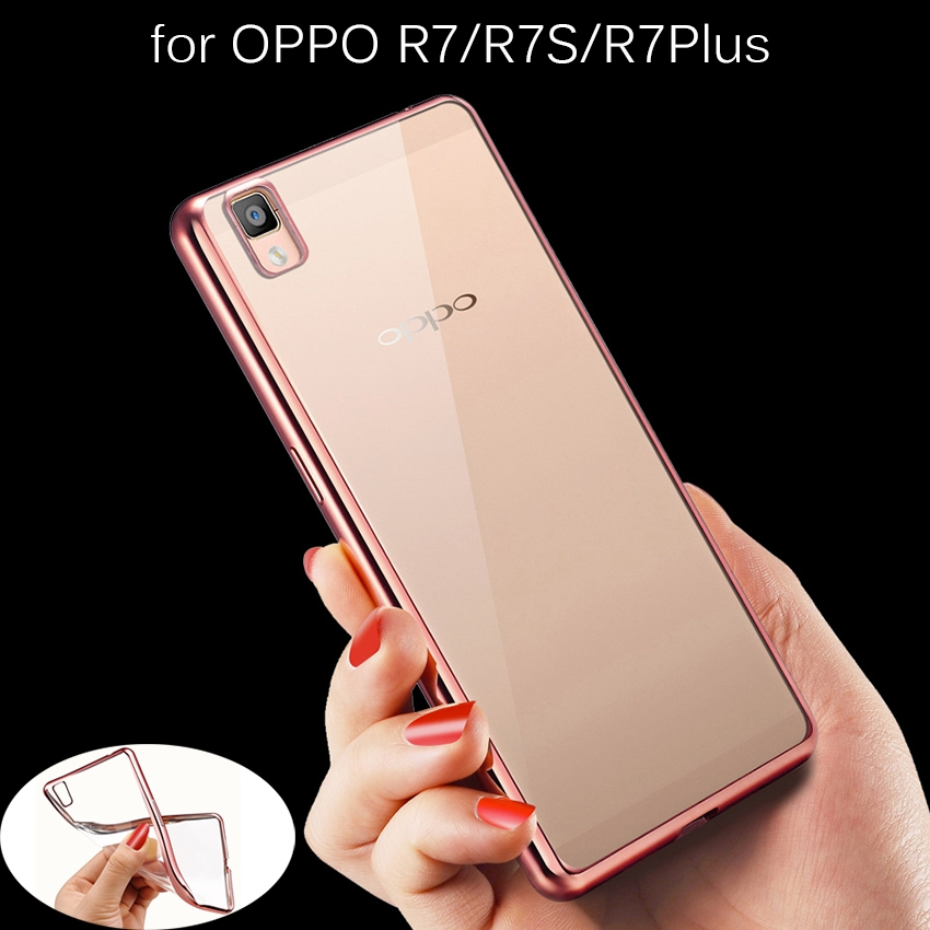 Ultra Thin Rose Gold Plating Crystal Clear Case For OPPO R7 R7s R7 R7Plus Luxury Transparent