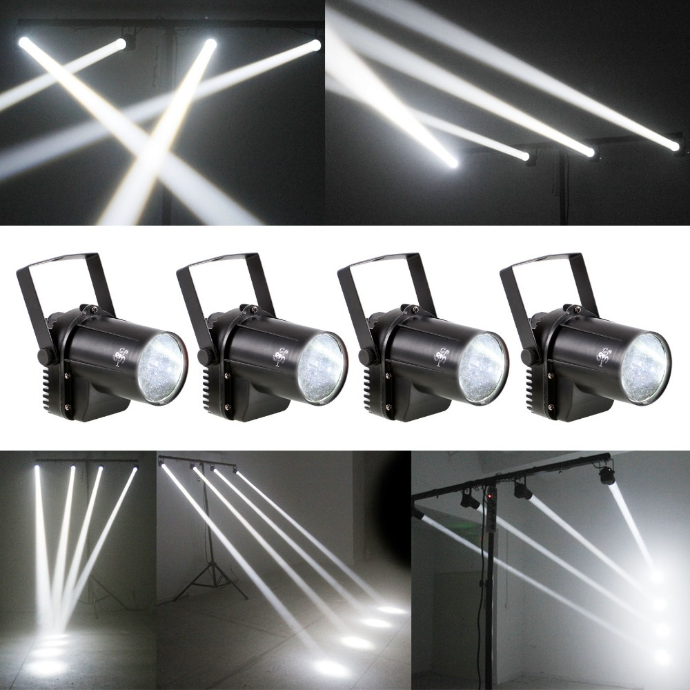 (Lot of 4) Whyite Lighting Mini 3W LED Beam Spotlight Bar DJ Party Show Pinspot Stage Lighting Effect  [XL100-W-x4]<br><br>Aliexpress