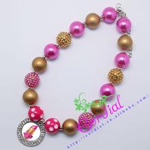 Hot Sell Free Shipping Cordial Design Kids Jewelry Handmade Chunky Bubblegum DIY Hot Pink Bead Necklace CDNL-410309(China (Mainland))