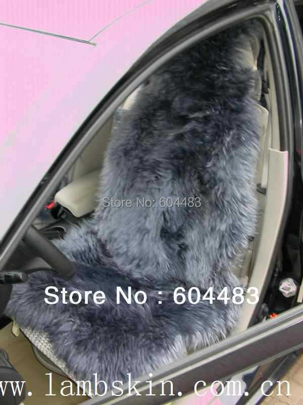Genuine Long Hair Sheepskin Car Seat Covers (Gray) Cushion - Home store