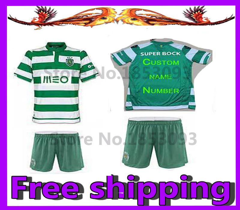 14.15 Sporting Lisbon Kids Soccer Jersey Sporting Lisbon Adolescent children white green Stripe soccer Jerseys(China (Mainland))