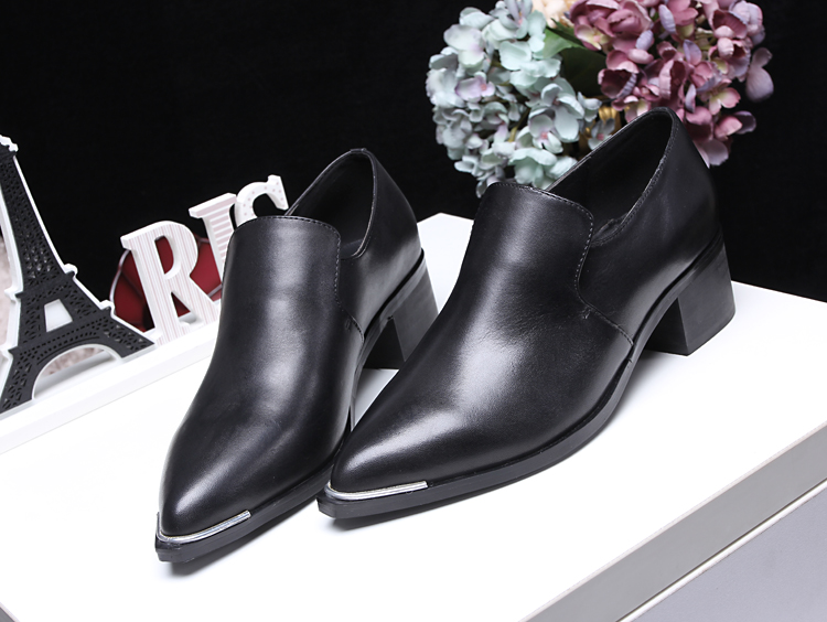 2016 Acne Studios Women Genuine Leather shoes Pointed Toe Mid Heels Female Designer Brand Top Quality Spring shoes Thick heel<br><br>Aliexpress