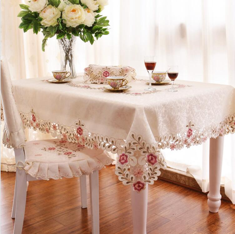 Floral Embroidery Lace Tablecloth Jacquard Table Cloth table covers home decoration Different sizes available(China (Mainland))