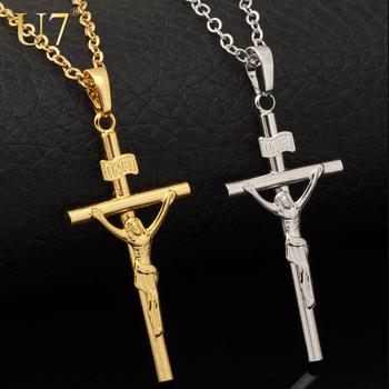 Cross Necklace Women/Men Jewelry Wholesale Trendy 2 Colors Platinum/18K Real Gold Plated INRI Crucifix Jesus Cross Pendant P327