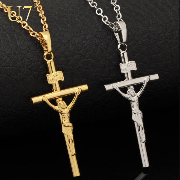 Cross Necklace Women/Men Jewelry Wholesale Trendy 2 Colors Platinum/18K Real Gold Plated INRI Crucifix Jesus Cross Pendant P327(China (Mainland))