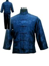 Free shipping ! Navy blue Men's Polyester Satin Pajama Sets jacket Trousers Sleepwear Nightwear SIZE S M L XL XXL XXXL M3020(China (Mainland))