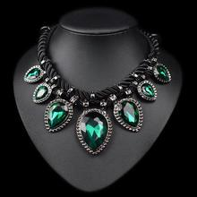 Hand made green crystal neckalce rope water drop chunky chocker necklace women fashion jewelry(China (Mainland))