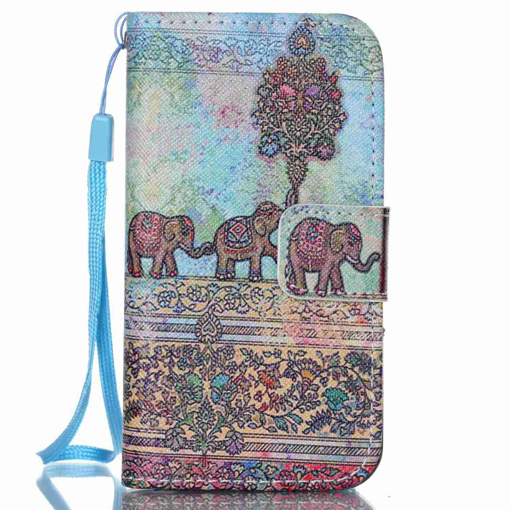 PU Leather Phone Cover Flip Stand With Card Slot Wallet With Strap Phone Case Gray Elephant Pattern For Apple Iphone 4S Case